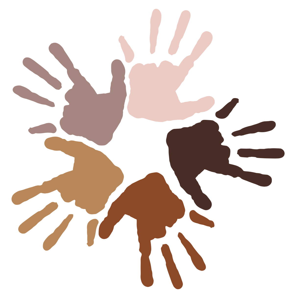 five hand prints all different skin tones