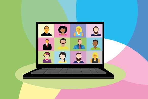 laptop computer virtual meeting illustration