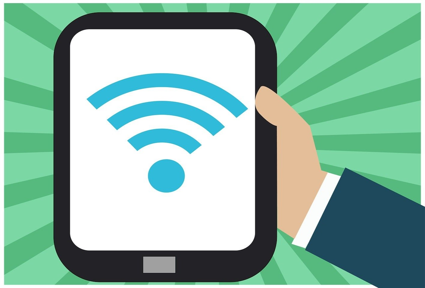 graphic of hand holding tablet with wifi symbol