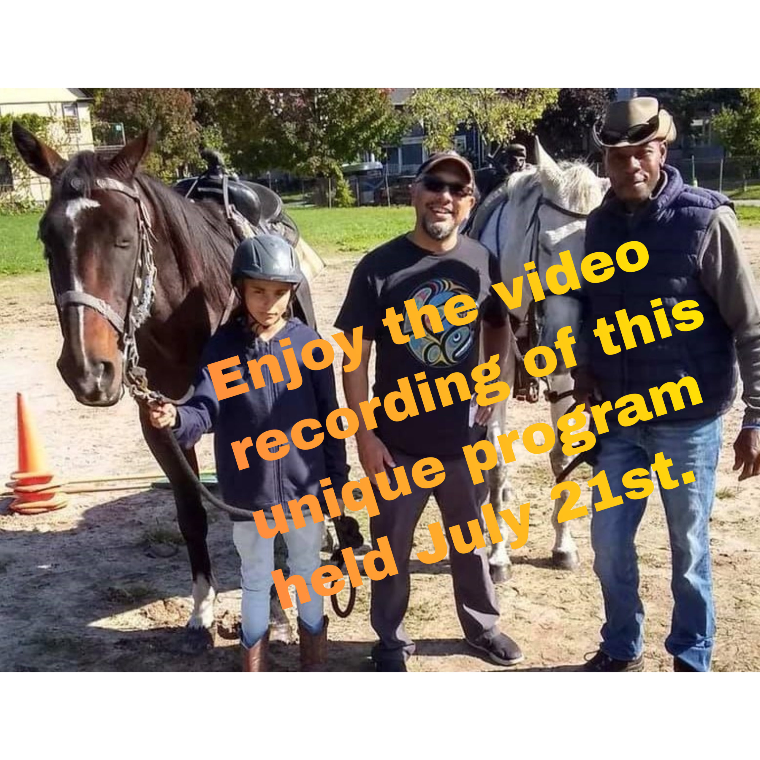 text on picture of 2 horses and 3 people about video of horse program